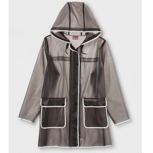 NEW HUNTER Womens Small Hooded Gray Rain Jacket